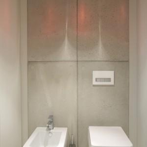 Niewielka toaleta jest urządzona w surowym, nieco loftowym stylu, co podkreśla okładzina ścienna przypominająca betonowe płyty. Z kolei dekoracyjna lampa sufitowa wizualnie ociepla przestrzeń. Fot. Bartosz Jarosz