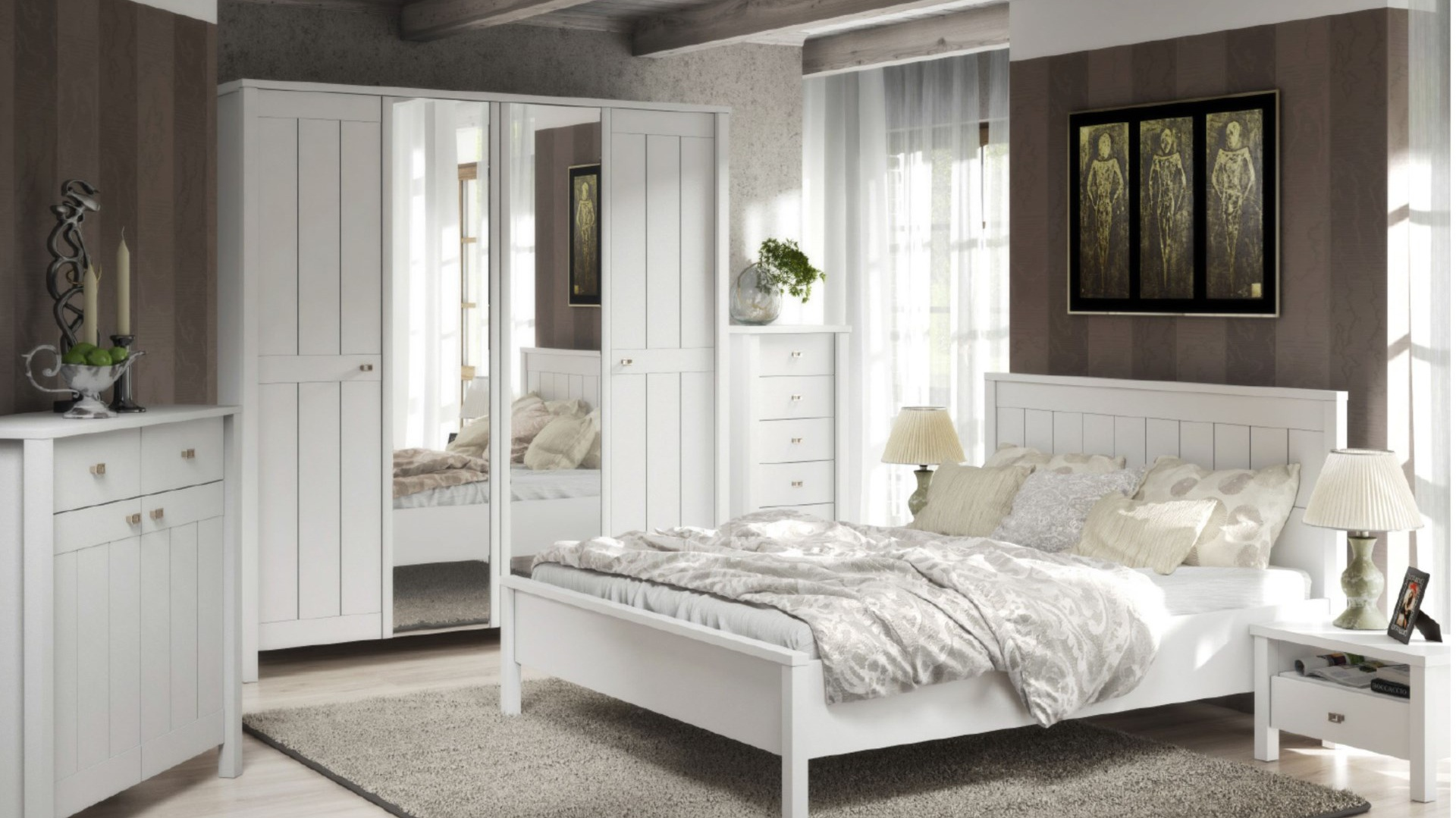 Sypialnia Village to meble utrzymane w białej kolorystyce. Fot. FM Bravo.