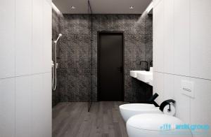 Projekt łazienki w domu jednorodzinnym.