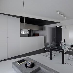 Wszystkie pomieszczenia zlokalizowano wzdłuż obu stron dominującej przestrzeń przekątnej ściany. Fot. Koichi Torimura.