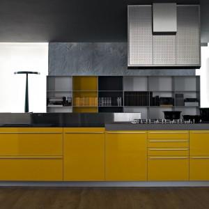 Kolorowy element, np. wyspa kuchenna może być ciekawym urozmaiceniem loftu. Fot. Valcucine.