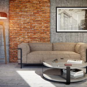 Część salonową, w której dominuje szarość, ożywia pomarańczowa cegła i lampa w ciepłym kolorze. Fot. Nowa Papiernia.