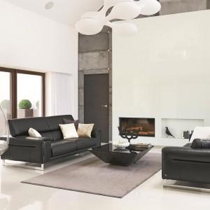 Duży, jasny salon z wysokim sufitem imponuje przestrzenią i wysmakowaną elegancją. Elementem dodającym wnętrzu charakteru jest wysoka ściana, wykończona betonowymi płytami, własnoręcznie wykonanymi przez właściciela domu. Fot. Łukasz Kozyra.
