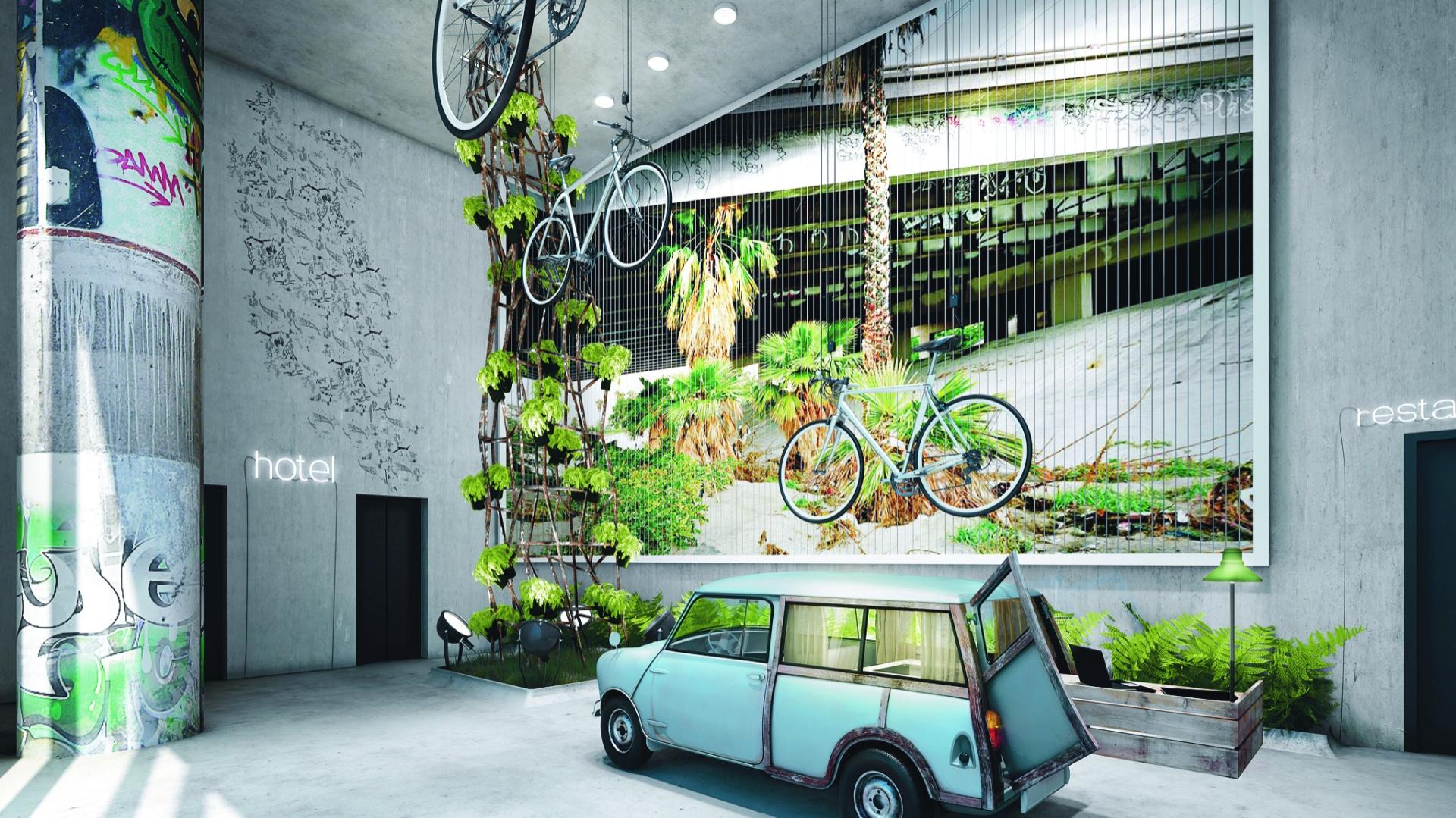 25hours Bikini Berlin, wejście do hotelu przypomina miejską betonową dżunglę w grafitowo-betonowej szacie przepełnioną zabytkowymi artefaktami. Fot Kaldewei