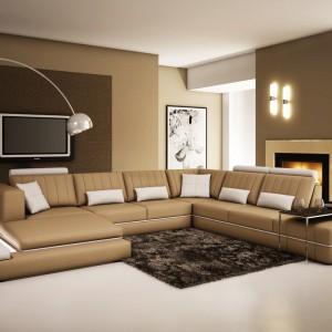 Komfortowy narożnik w kolorze ciepłego beżu marki La Furniture. Fot. La Furniture.