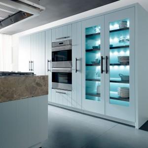 Podświetlenie na niebiesko drewnianych półek sprawiło, że szklana witryna zyskała wyrazisty, nowoczesny charakter. Fot. Fabio Luciani.