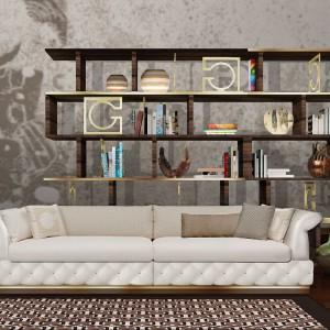 Niezwykle elegancka sofa Gherardini marki Divano Duccio ze zintegrowanym stolikiem pomocniczym. Idealna dla miłośników stylu glamour. Fot.  Divano Duccio