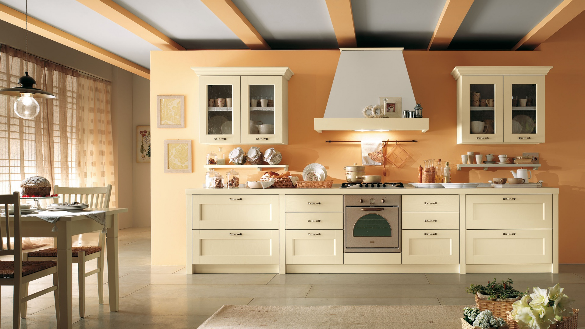 Drewniana Kuchnia Ciepła Piękna Naturalna
