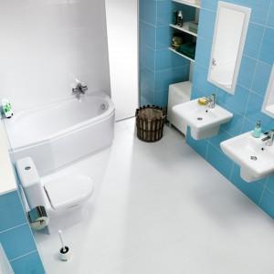 Iryda Cersanit to  uniwersalna seria ceramiki, której modele - podwieszane i stojące oraz umywalki ścienne i z postumentem i półpostumentem - można łatwo dopasować do wielkości pomieszczenia.  Fot. Cersanit.