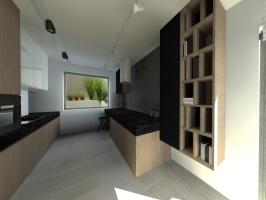 Białe, czarne i drewniane - projekt mieszkania.