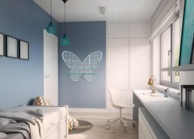 Nowoczesna aranżacja domu jednorodzinnego w Kutnie, złożonego z salonu, kuchni, jadalni, sypialni rodziców i dzieci oraz łazienek. Dominujące kolory to biele i szarości, które podkreślają nowoczesny i oszczędny charakter wnętrza. W każdym z wnętrz pojawia się delikatny kolorystyczny akcent.