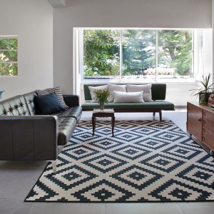 W salonie obok siebie stanęły ciemnobrązowa pikowana kanapa na stalowych nogach i druga, nieco mniejsza, w kolorze butelkowej zieleni. Fot. Galit Deutsch.