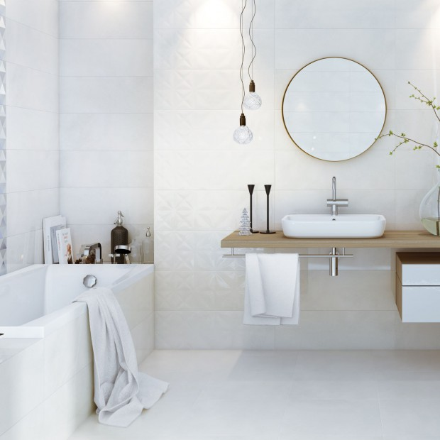 Białe płytki do łazienki. 15 pięknych kolekcji