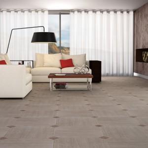 Płytki podłogowe z kolekcji Fuji Rombo marki Terracota o wzorze imitującym naturalną podłogę drewnianą w jasnym, matowym wykończeniu. Fot. Terracota.