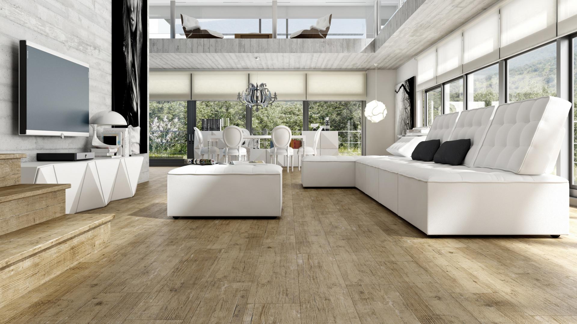 Kolekcja płytek podłogowych Roots marki Land Porcelanico imitujące drewno w jasnym kolorze. Fot. Land Porcelanico.