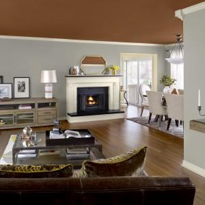 Szare ściany w salonie urządzonym w klasycznym stylu to propozycja dla miłośników eklektycznych wnętrz. Fot. Benjamin Moore.