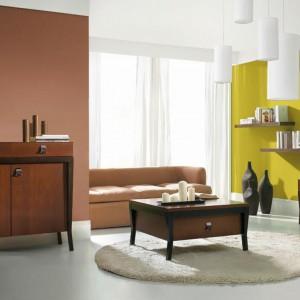 Ciepły i przytulny zestaw barw do klasycznego salonu. Naturalne brązy podkreślą jego tradycyjny charakter, a zieleń ożywi przestrzeń. Fot. Śnieżka.