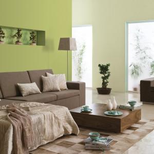 Stonowane zielenie staną się doskonałym tłem dla aranżacji salonów o typowo wypoczynkowym charakterze. Fot. Dulux.