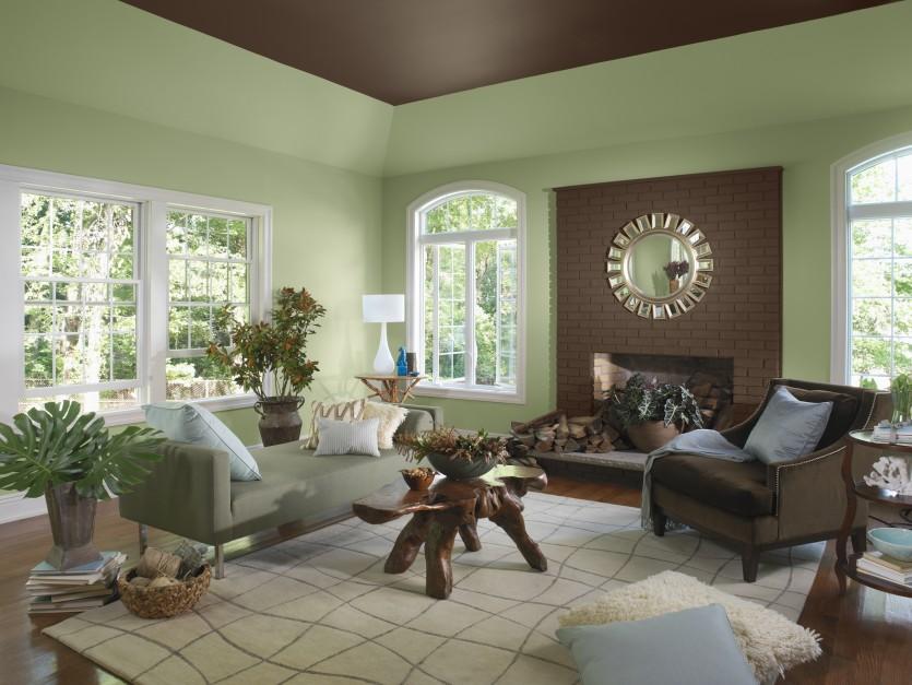 Stonowana zieleń to jeden z...  Ciepły i przytulny salon. Modne farby w kolorach jesieni ...