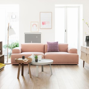 Sofa w pastelowym odcieniu efektownie dopełnia stonowane wnętrze. Fot. Mutto.