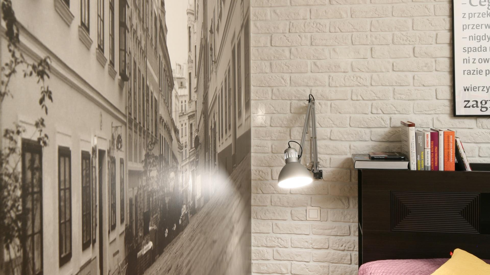 Sypialnia W Stylu Loft Biała Cegła I Fototapeta