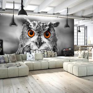 Fototapeta z motywem sowy z oferty marki Picassi idealnie podkreśli nowoczesny charakter każdego salonu. Fot. Picassi.