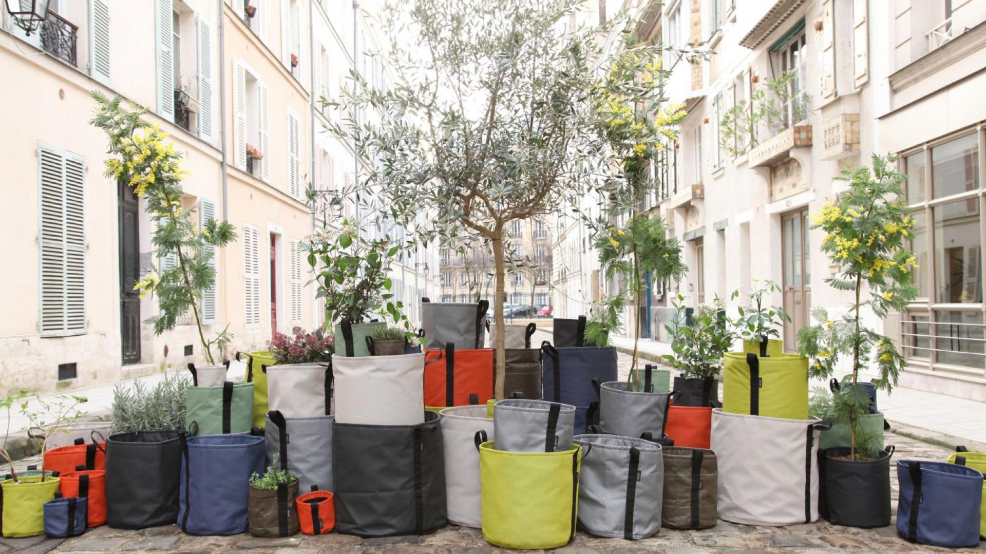 Ekologiczne torby dostępne są w wielu kolorach i rozmiarach. Trwały, odporny na mróz i działanie promieni słonecznych materiał sprawia, że donice możemy umieszczać także na zewnątrz. Fot. Bacsac.
