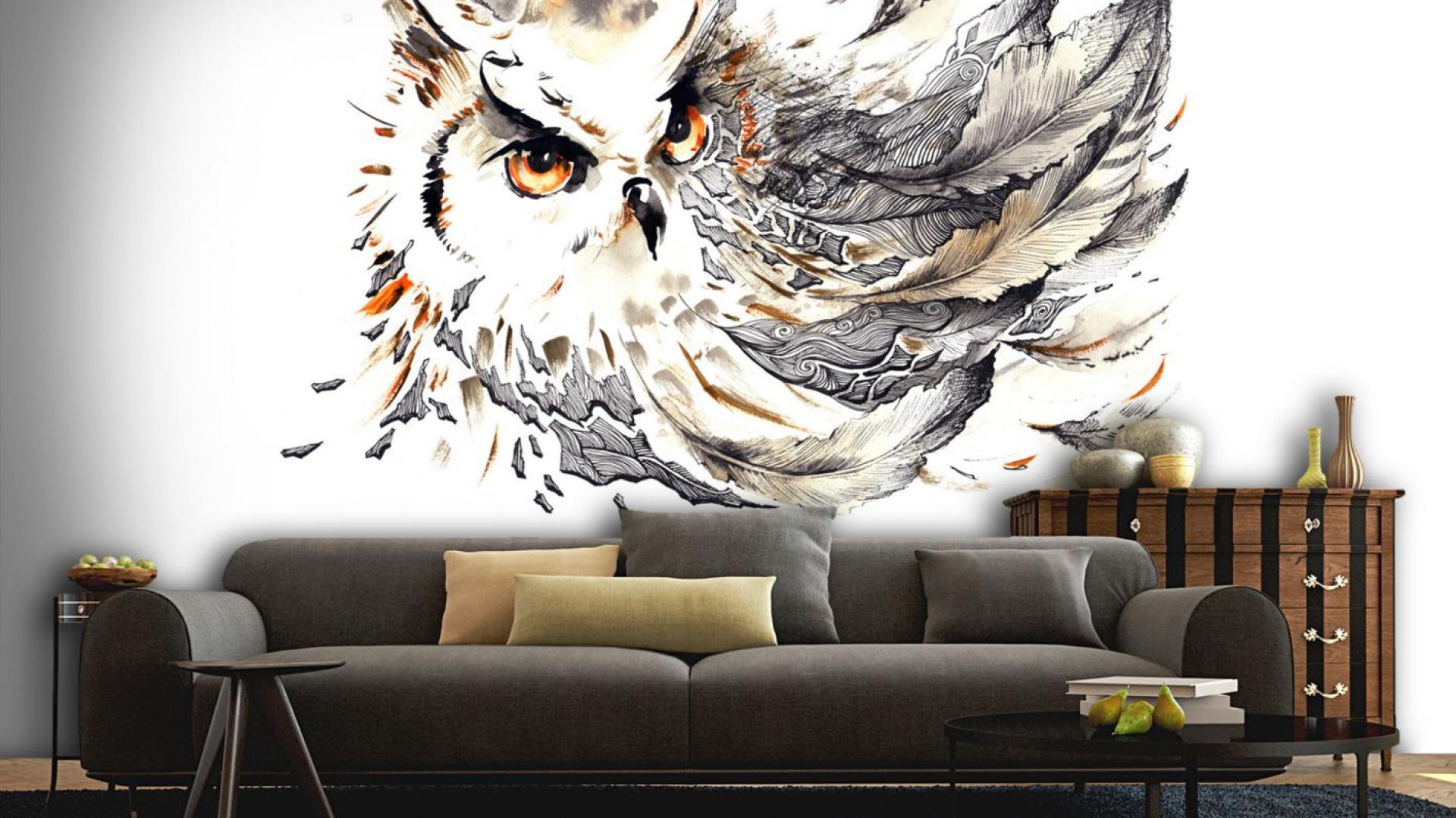 Fototapeta z motywem sowy utrzymana w pięknych, jesiennych kolorach. Idealna do salonu. Fot. Picassi.pl.