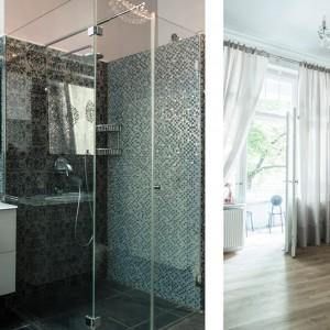 Nowoczesne elementy nadają bogato zdobionemu wnętrzu lekkości. Strefę prysznica obudowano prostym, przezroczystym szkłem, lustro nad umywalką nie ma ram, a fronty szafki podumywalkowej są gładkie i wykończone na połysk. Fot. www.suite030.com.