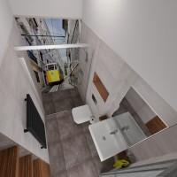 Projekt łazienki  dla gości w domu jednorodzinnym w Hałcnowie.