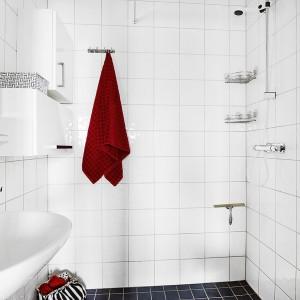 W łazience króluje biel. Ożywiają ją elementy wyposażenia wnętrza oraz czarne płytki na podłodze w strefie prysznica. Fot. Vastanhem.