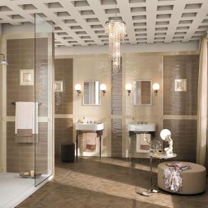 Kolekcja Manhattan Fap Ceramiche  to niezwykle stylowe płytki o wyglądzie kafli - zarówno format jak i mocno szkliwiona powierzchnia  powalają stworzyć w łazience stylową aranżację. Dwa odcienie beżu tworzą idealne zestawienie kolorystyczne. Fot. Fap Ceramiche.