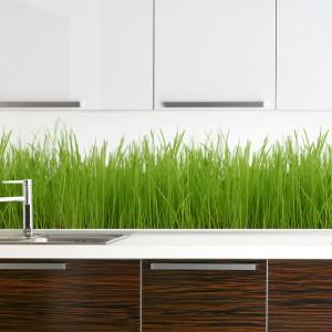 Soczysta zielona trawa wyrasta z blatu kuchennego. Pomysłowa fototapeta pięknie zdobi ścianę w kuchni, przyciąga wzrok i ożywia wnętrze. Fot. Artofwall.