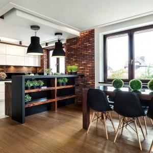 Kuchnię od jadalni oddziela pomysłowy półwysep z półkami po zewnętrznej stronie. Jadalnia kolorem komponuje się z podwyższonym półwyspem, zasłaniającym kuchenny nieład. Fot. Pracownia Mebli Vigo, Max Kuchnie.