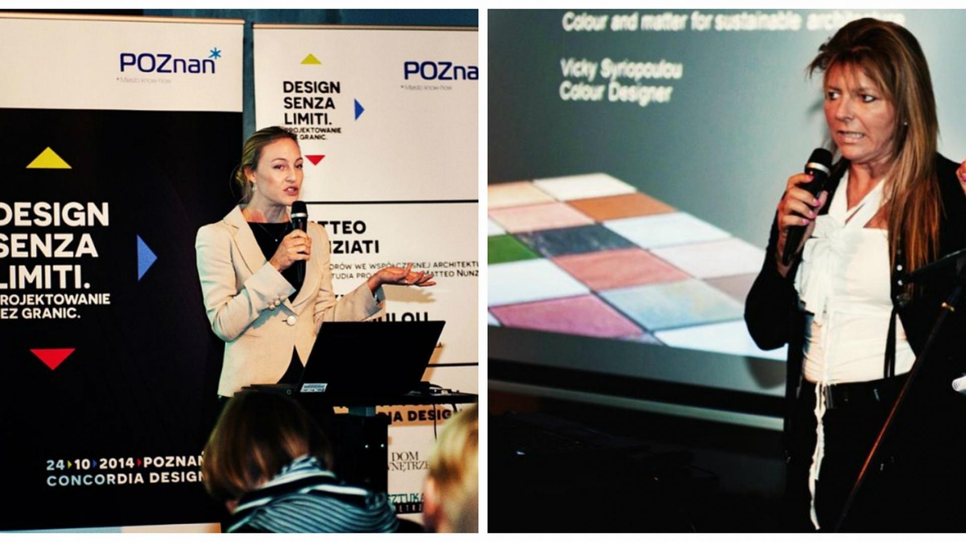 Dinah Nunziati (po lewej) poprowadziła  wykład, którego głównym tematem były  kolory oraz rola oświetlenia w nowoczesnych wnętrzach. Drugi wykład (po  prawej) poprowadziła Vicky Syriopoulou,  projektantka kolorów i faktur firmy OIKOS.  Fot. VOX