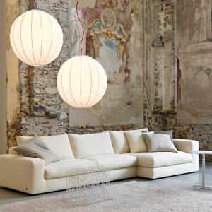 Elegancka kanapa o prostych liniach, w kolorze ecru. Fot. Busnelli.