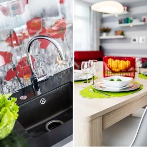 Przestrzeń, w której króluje nowoczesna, delikatnie chłodna stylistyka ożywiają bogato użyte różnokolorowe akcenty. Projekt: Saje Architekci. Fot. foto&mohito.
