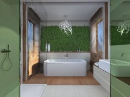 Projekt łazienki z żywymi roślinami nad wanną.