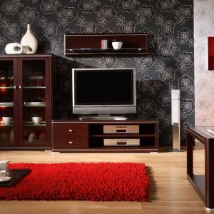 Komoda RTV z kolekcji mebli salonowych Quattro marki Klose dostępna w kolorze buk wyposażona została w dwie otwarte półki na sprzęt RTV oraz dwie szuflady. Fot. Meble Klose.
