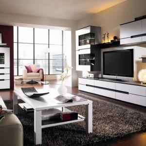 Biała szafka RTV z kolekcji mebli dedykowanych do salonu Lifeline marki Klose wykonane z naturalnej okleiny dębowej. Fot. Meble Klose.