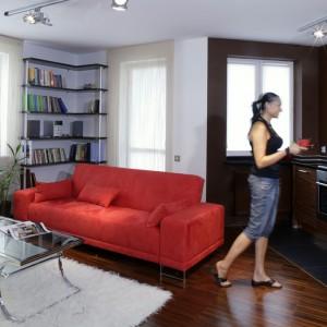 Miękka sofa w kolorze zgaszonej czerwieni koresponduje z aneksem kuchennym o barwie ciemnego drewna. Projekt: Ewa Wiśniewska-Benedyczyk. Fot. Archiwum Dobrze Mieszkaj.
