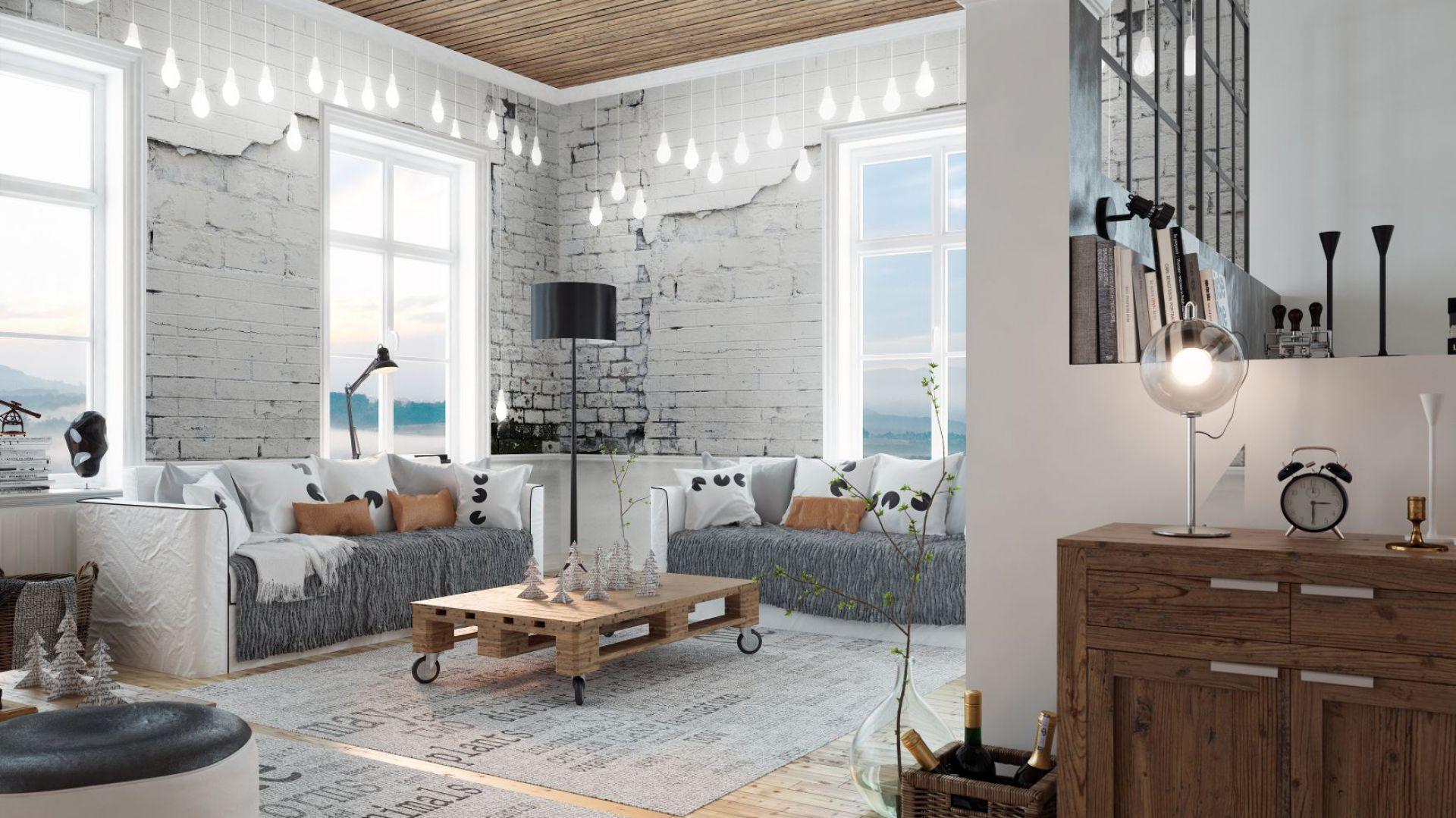 ściany W Salonie Fototapeta Jak Kamień Drewno Czy Cegła