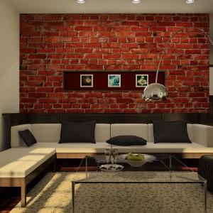 Fototapeta z motywem czerwonej cegły podgrzeje atmosferę każdego wnętrza. Fot. Pixers.