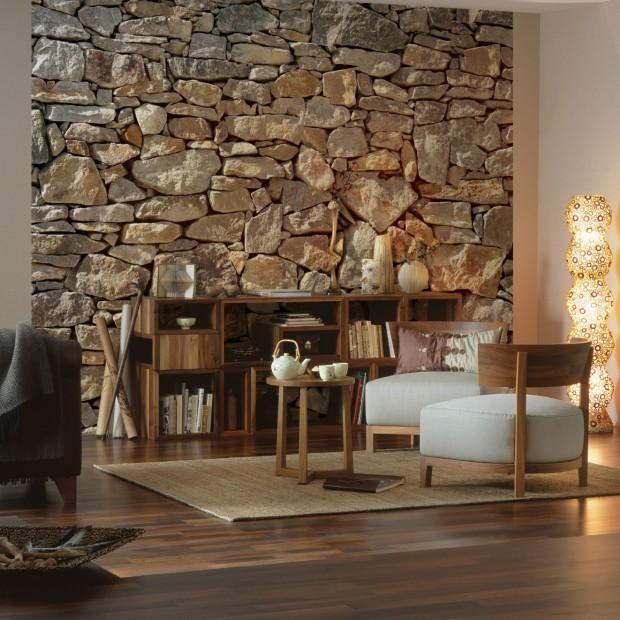 Ściany w salonie: fototapeta jak kamień, drewno czy cegła