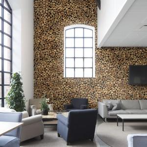 Niezwykle modny motyw drewna na ścianie w zaskakującej wersji. Fototapeta z motywem drewnianych pieńków to oryginalna dekoracja nie tylko do salonu. Fot. Mr Perswall.