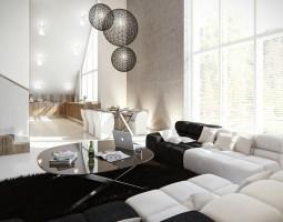 Sypialnia oddzielona jest od salonu pionem z dekoracyjnym kominkiem narożnym i wysoką zabudową.