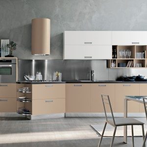 Beż, biel i szarość tworzą znakomite trio kolorystyczne, pasujące do nowoczesnej kuchni. Zestaw Milly marki Stosa Cucine. Fot. Stosa Cucine.