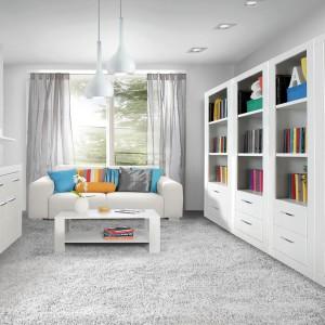Meble do pokoju dziennego z kolekcji Snow marki Forte to proste, geometryczne dostępne w dekorze Biały Uni mat. Segmentową konstrukcję frontów tworzą dekoracyjne poziome frezowania. Fot. Meble Forte.