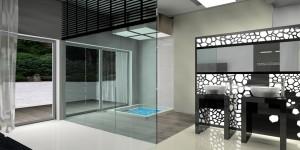 Ścianka pomiędzy umywalkami a brodzikiem ażurowa, podświetlona, z motywem organicznym.