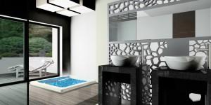 Postumenty umywalek i tylna ściana brodzika wykonane z czarnego granitu.